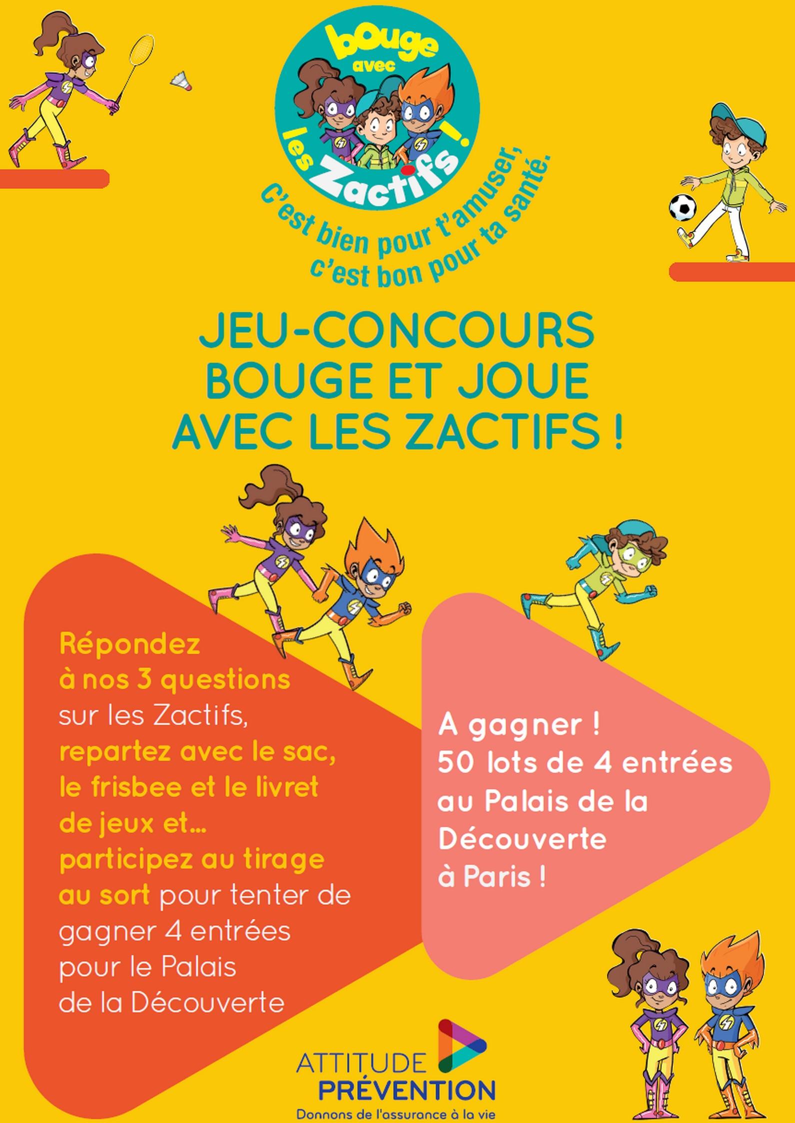 """Affiche jeu-concours \""""Bouge et joue avec les Zactifs !\"""" le 10 septembre 2016"""